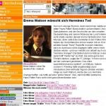 T-Online-Beitrag über Harry Potter, Emma Watson und Potter-Parodien